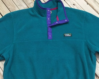 LL Bean Pullover Fleece 1990s Turquoise Fleece Snap T