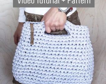 Crochet Chunky Yarn Handbag Video Tutorial and Pattern/ Crochet Pattern/ DIY Ladies Bag/ Bag Pattern/ Hook Crochet Tutorial/ Video Guide