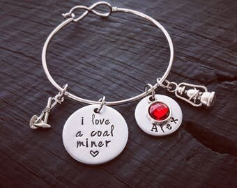 I Love A Coal Miner Bracelet   Coal Miner Jewelry   Coal Miners Wife Bracelet   Coal Miner's Girlfriend Jewelry   Coal Miner's Wife Bracelet