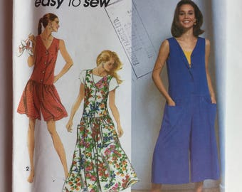 Simplicity Pattern 7758 Misses Culotte-Dress in Two Lengths and Dress Size LG & XL uncut