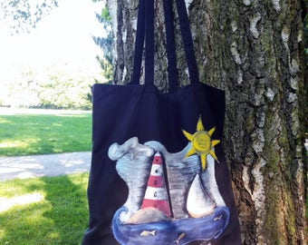 Summer bag, black cotton tote bag, hand painted bag, lighthouse bag, book bag, nautical bag, shoulder bag, cotton bag, Unique Item