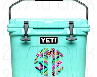 Lilly Pulitzer Cooler Monogram Decal | Yeti Decal | Monogram Decals | Lilly Decals | Cooler Decal | Vinyl Decals | Yeti Decal for Women |