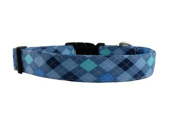 Preppy Blue Argyle Dog Collar