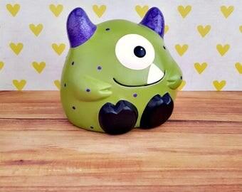 Green and Purple Monster Piggy Bank, Monster Piggy Bank, Monster Bank, Piggy Bank, Bank, Baby Bank, Kids Piggy Bank, Baby Shower Gift