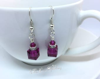 Nickel Free Silver Plated Dangle Gift Box Earrings made with Swarovski Crystal Fuchsia Cubes