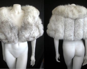 Norwegian Blue FOX FUR CAPELET White Cape Stole Wrap Shrug Bolero ~ Winter Wedding ~ Luxury Bridal ~ Gift ~ Mink ~ Cream Ivory