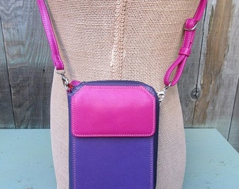 On Sale Color Block Crossbody Organizer My Walit Bag Walit Purse handbag Purple Fuchsia Pink Orange Red