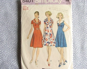 "1970s dress pattern, vintage Simplicity 5401 pattern size 18 bust 40"", Cut&complete"