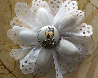 First Holy Communion Confetti Flower almond favor Bomboniere with Silver Chalice pin jordan almond favors CF1200