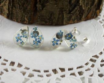 Small tear drops Blue drops Post studs Minimalist earrings Rain drop earrings Mini stud earrings Nature earrings Crystal drops celestial