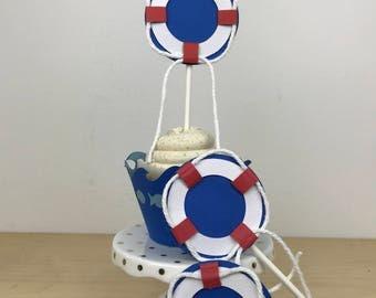 Nautical Life Saver Cupcake Topper