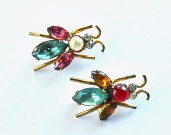 1940s Pair of Coro Pegasus Sterling Bug Brooches