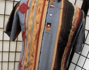 Men's abstract striped vintage 4 button polo shirt by D'Accord Large L Made in the USA