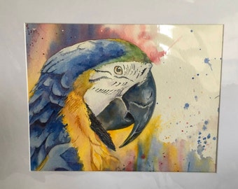 Blue Macaw Watercolor Painting