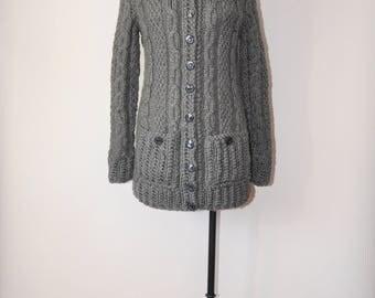 handknit gray aran cardigan / cable handknit sweater coat / wool fisherman sweater
