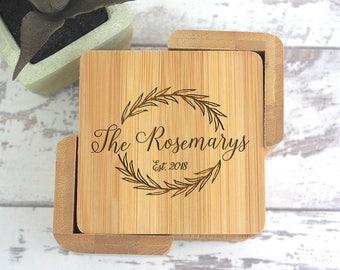 Personalized Coasters, Custom Coasters, Set of 6 Coasters, Last Name Coasters, Wedding Gift, Present, Housewarming, New House WC200