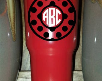 Personalized Powder Coated Tumbler (Mug). Polka Dot Circle Monogram Decal. Choose decal color, tumbler color & size.Perfect for gift giving.