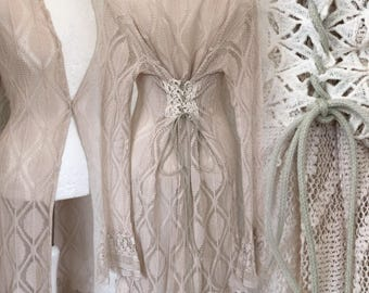 Unique jacket , Victorian hippie jacket , cotton , handyed, teastained , elven unique clothing , gypsy luxe , unique ja