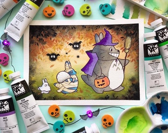 Halloween Cute Anime Soot Trick or Treat Watercolor PRINT by Michelle Coffee