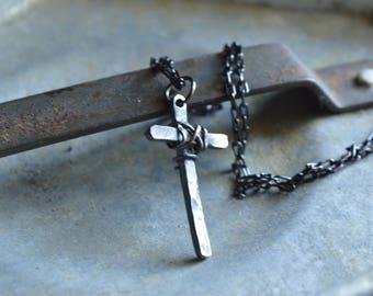 Rustic Cross Neckalce - Christian Jewelry -  Gift for Him - Cross Design by Korey Burns