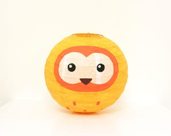 Yellow Owl Japanese Paper Lampshade
