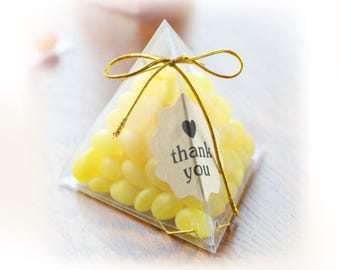 50 pcs Clear Pyramid Candy Boxes - with Ribbon & Stickers - Wedding Party Gift Favors, Candy Wraps