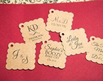 "100 Printed Kraft 1.5"" Square Gift Tags, Kraft Wedding favour tags, Custom Jewellery Tags, wedding favors 1.5 inch. Small 35mm tags"