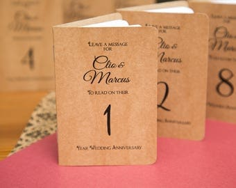Mini Notebook table numbers. Custom kraft wedding centre pieces, wedding decor. Wedding guestbook. Table guestbooks. Kraft Mini Notebooks.