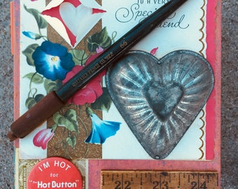 Valentines Assemblage box -'Chock Full of Love'