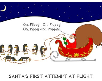 Santa's First Attempt at Flight - greeting card - christmas - funny - ID #007