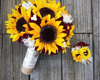 Burgundy Sunflower Bouquet, Rustic Sunflower Bouquet, Sunflower Bouquet, Sunflower and Burgundy Bridal Bouquet