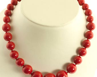 Red Bead Graduated Necklace