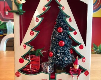 Vintage Christmas Shadow Box / Diorama - Christmas Tree with Pixies - Shiny Brite