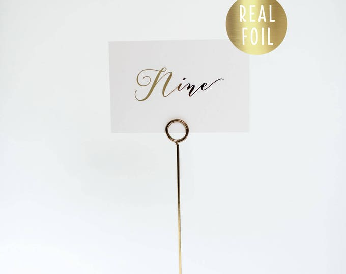 NEW!  millie gold foil table numbers (single-sided) // gold foil calligraphy wedding table numbers