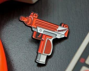 """Retro Nintendo Uzi Zapper Enamel Pin 1.5"""""""