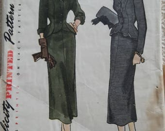 40s/50s Suit Pattern Simplicity 2956 Size 16 Bust 34 Vintage Sewing Pattern
