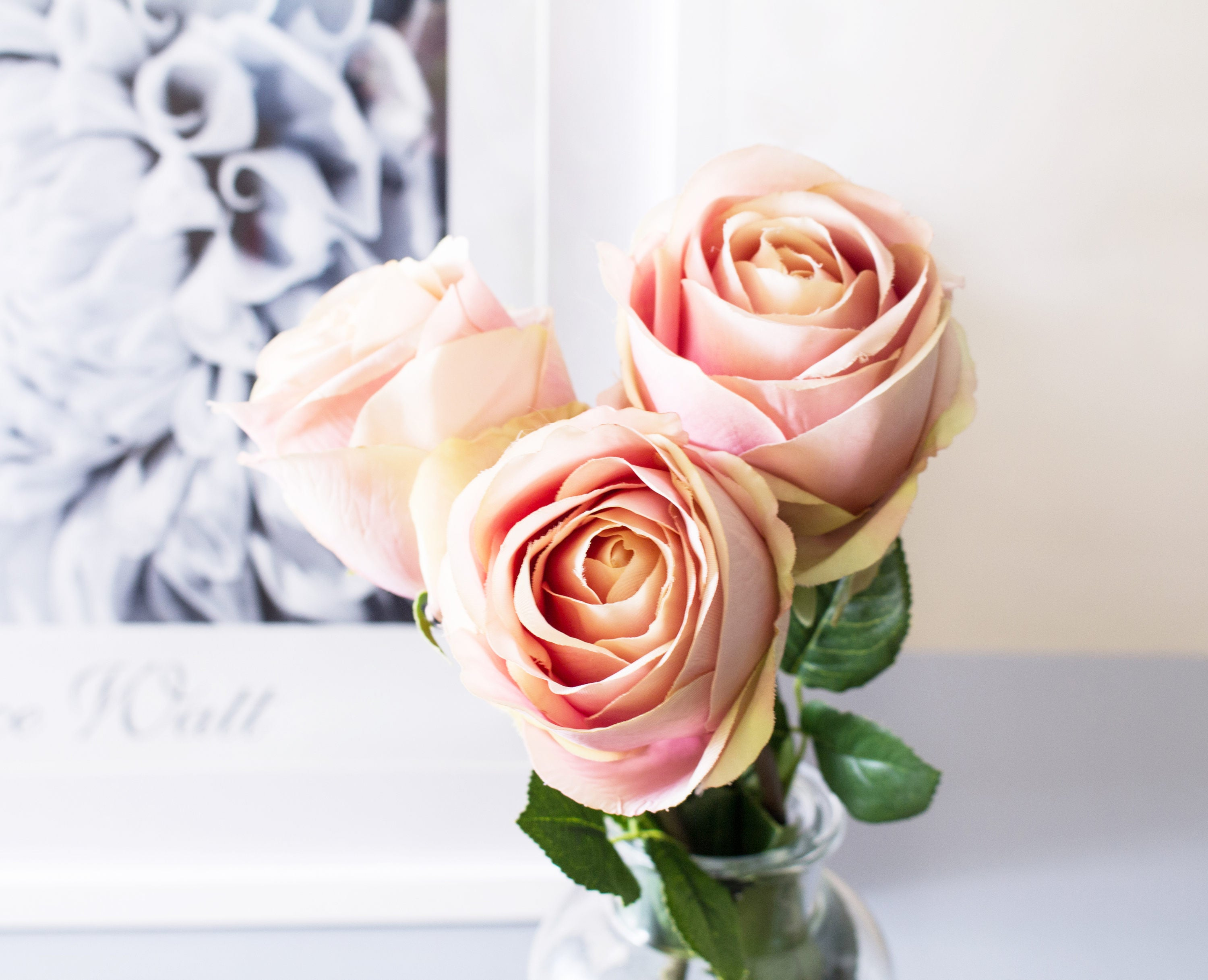 Sale 3pcs Soft Dusty Pink French Rose Roses Silk Flower Silk Flowers
