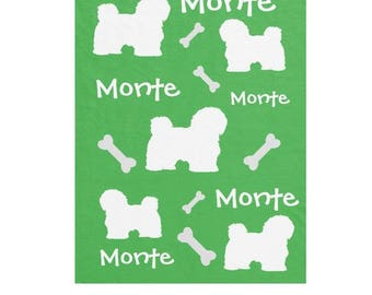 Maltese, Bichon, Havanese and Lhasa-Apso  Personalized Blankets