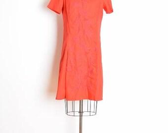 vintage 60s dress, embroidered dress, red dress, 60s clothing, twiggy dress, mod dress, 60s mini dress, cotton dress, red embroidery, M L