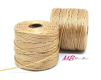 Light Brown S-Lon Macrame Cord 77 Yards, Nylon Beading Cord .5 mm