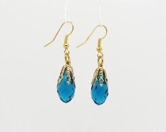 Blue Drop Earrings, Dangle Earrings, Crystal Earrings, Blue Teardrop Dangle Earrings, Long Blue Earrings, Sapphire Blue Dangle Earrings,