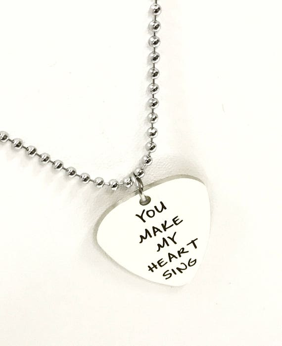Guitar Pick Gift, You Make My Heart Sing Necklace, Guitar Pick Necklace, Gift For Him, Gift For Her, Guitar Pick Jewelry, Valentine Gift