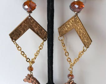 Earrings EQUESTRIAN HORSE HEAD Earrings Pierced Handmade One of a Kind OoAK pierced Sterling  vintage Brass  Bronze Copper WildRosesVintage