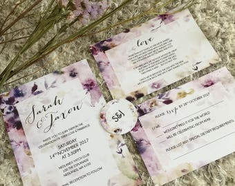 Custom Printable Wedding Invitation Set - Lavender Watercolour Design