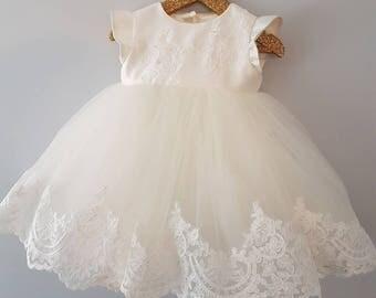 Olivia - christening dress, baptism girls dress, princess baby gown, christening gown, lace baptism dress, baptism outfit, blessing dress