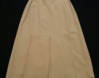 Vintage Gucci Wool Skirt sz S 44 Designer Skirt Made in Italy 80s Beige Pleated