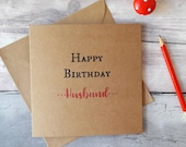 Husband birthday card, card for husband, birthday greetings card, card for him, happy birthday, birthday celebration, square Kraft card