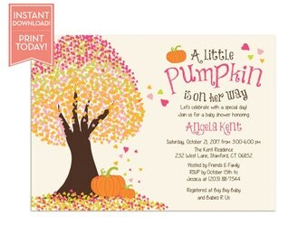 Little Pumpkin Baby Shower Invitations - Fall Baby Shower Invitation Template - Editable Instant Download Printable  LR1017BA Pink