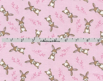Pink Bunny Fabric,  Rabbit Quilt Fabric, Timeless Treasures Fabric Starry Night Forest Kidz C4476 Pink Bunny Quilt Fabric, Cotton Yardage