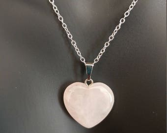 Natural Stone Heart Necklace 18 Inches 925 Sterling Silver Stamped Chain Pink